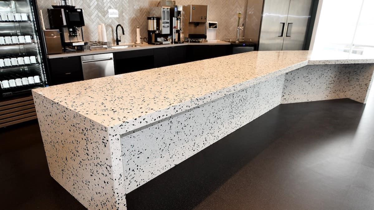 Feature precast terrazzo counter